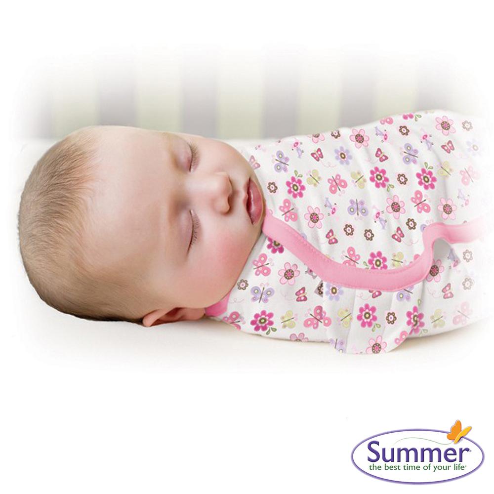 美國 Summer Infant 嬰兒包巾 懶人包巾薄款 -純棉L 蝴蝶花朵