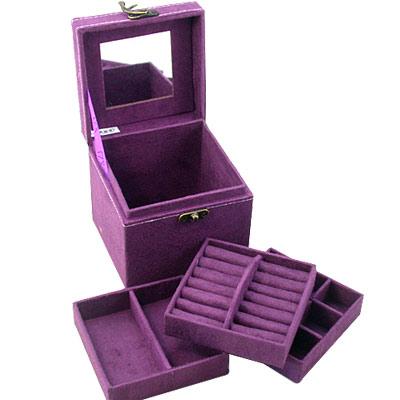iSFun 復古提盒仿兔絨三層首飾盒 4色可選12.4x12.2x12cm