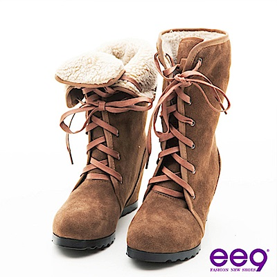 ee9冰上探險-2way反折牛麂皮內增高中筒靴-俏皮卡其