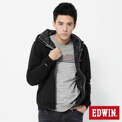 EDWIN-外套-繡花兩件式防寒連帽外套-男-黑色