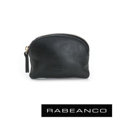 RABEANCO 迷色彩牛皮壓紋系列拉鍊零錢包  黑