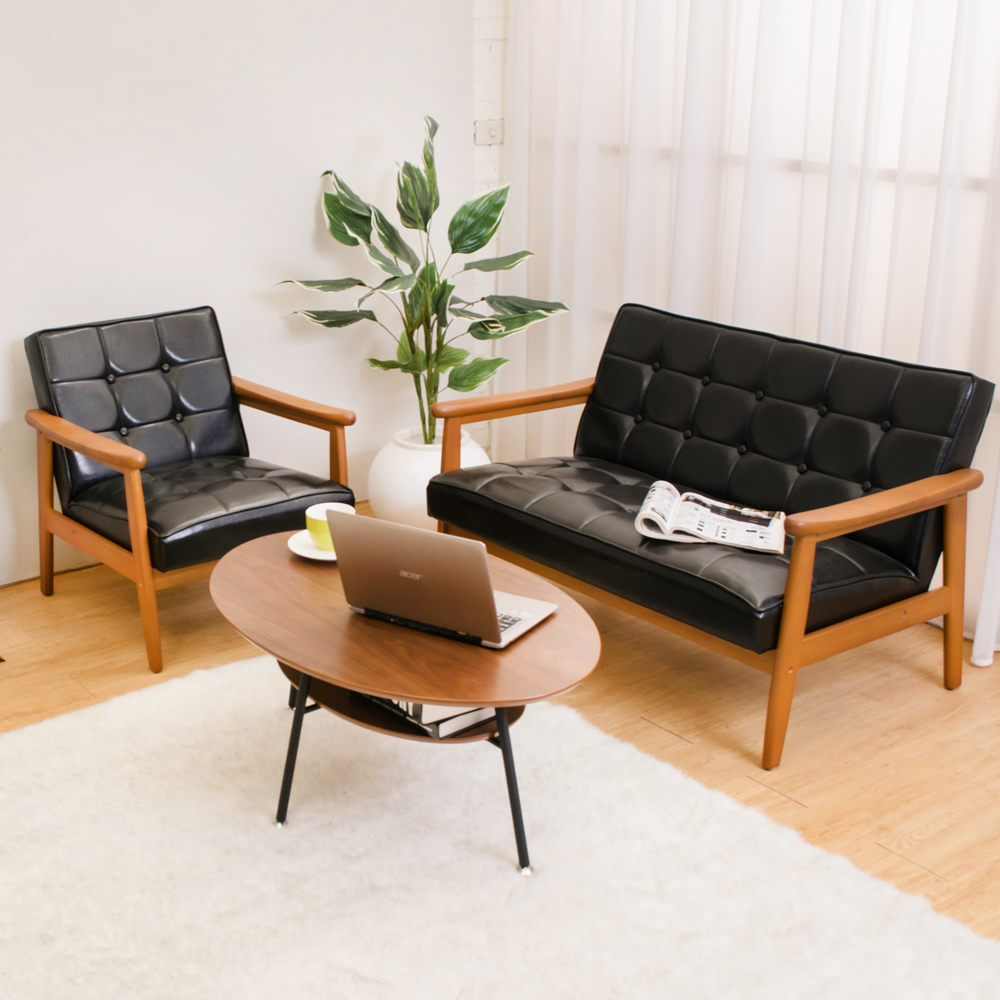Boden 布蘭頓實木黑色皮沙發椅組合(1人+2人)