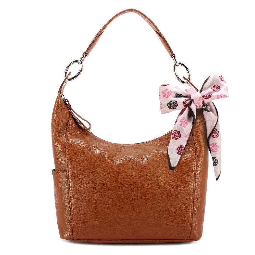 Longchamp Le Foulonne荔枝紋牛皮手提/肩背包-棕色-加贈帕巾
