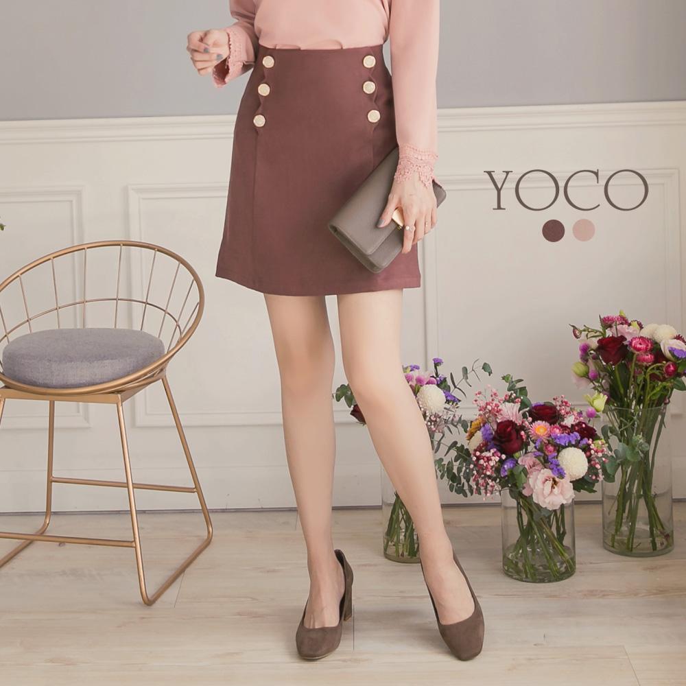 東京著衣-yoco 微糖美人優雅排釦設計窄短裙-S.M.L(共二色)