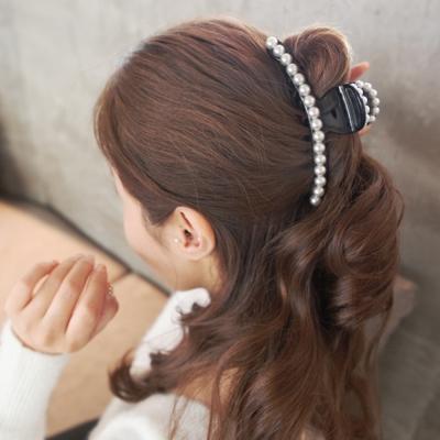 梨花HaNA  韓國美麗態度珍珠一字鑲框邊飾大抓夾