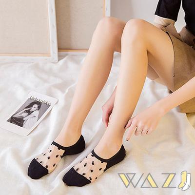 Wazi-點點透膚蕾絲踝襪隱形襪 (1組五入)
