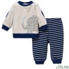 Little Me 藍白拼接小象上衣條紋長褲套裝兩件組