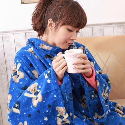 【床之戀】台灣精製-美式超舒柔多用途加大保暖袖毯/冷氣毯-藍