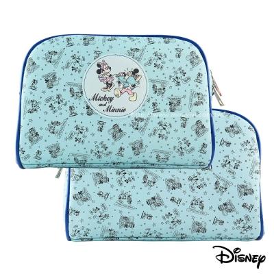 Disney-迪士尼插畫風旅行用大容量方型化妝包/萬用包-米奇米妮