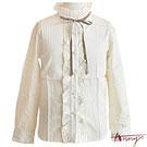 Anny宮廷荷葉高領單排素面襯衫*0246米白