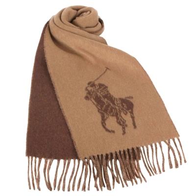 RALPH LAUREN POLO 經典大馬LOGO雙色羊毛圍巾-駝色