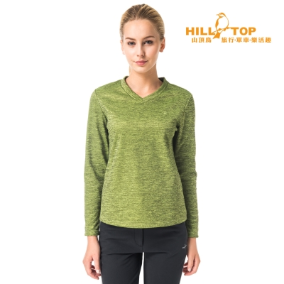 【hilltop山頂鳥】女款ZISOFIT吸濕V領刷毛上衣H 51 FH 3 綠