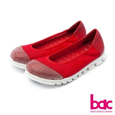 bac運動時尚-鞋頭燙鑽拼接透氣網狀布料休閒鞋-紅