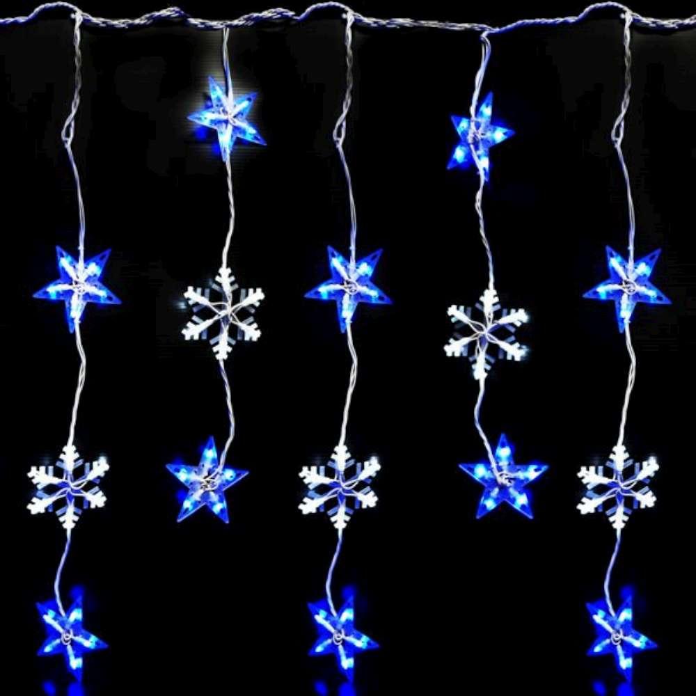 聖誕燈LED燈100燈星星雪花造型窗簾燈(附控制器跳機)