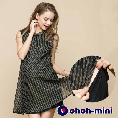 ohoh-mini 孕婦裝 荷葉邊立領無袖條紋孕哺洋裝