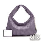 2R 頂級訂製NAPPA羊皮手工梭織彎月包 小版 晶粉紫