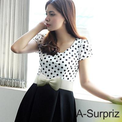 A-Surpriz 雙層緞面蝴蝶結彈性腰封(米白)