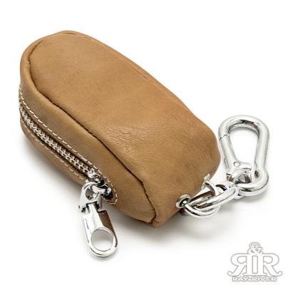 2R-糖果牛皮Candy零錢-車用鑰匙包-淺卡其