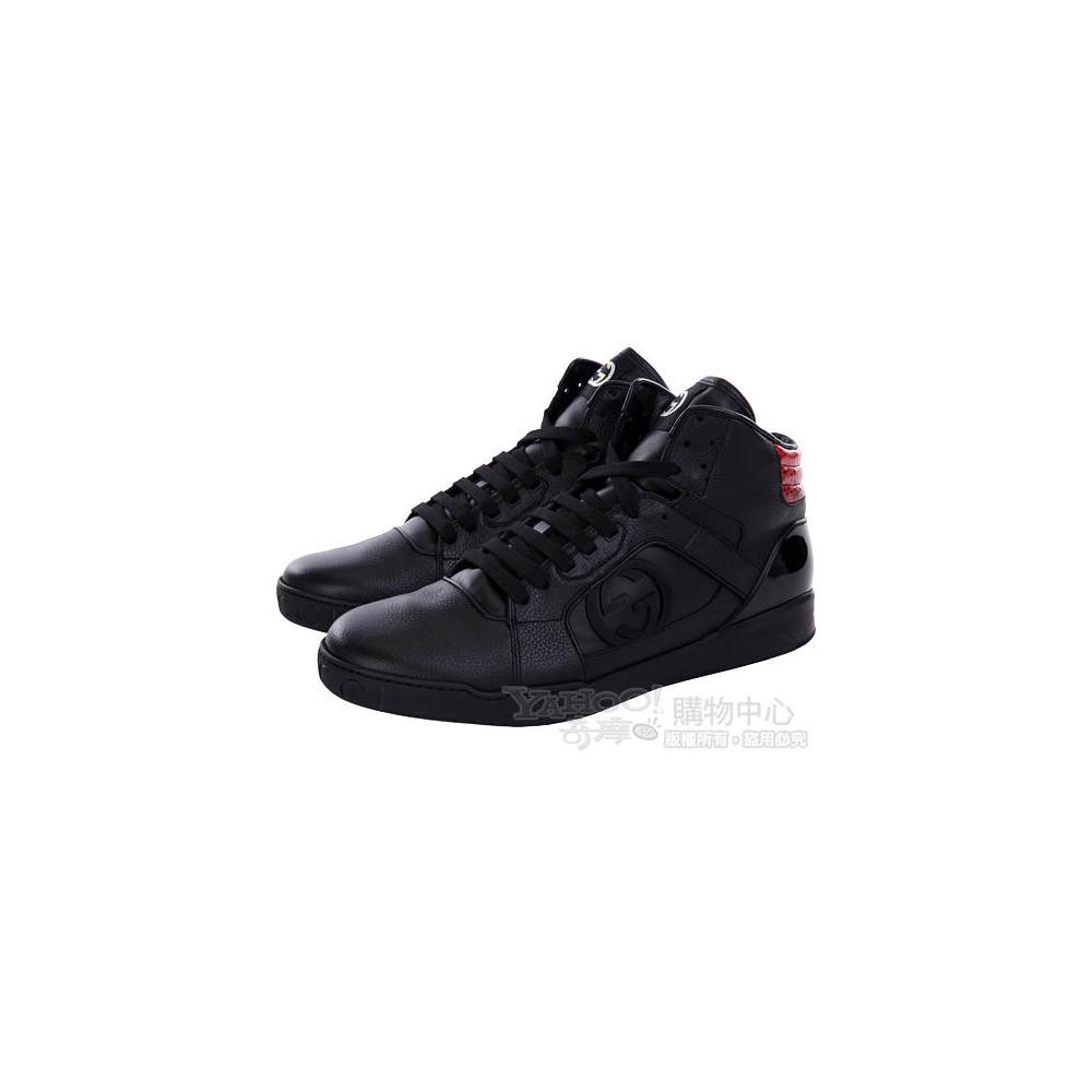GUCCI 黑色異材質拼接綁帶休閒鞋(男)