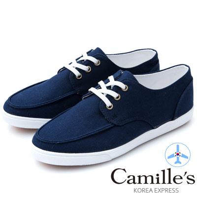 Camille's 韓國空運-正韓製-綁帶帆布休閒鞋-深藍