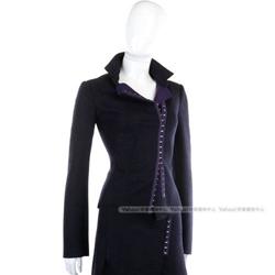 PAOLA FRANI 深藍色不對稱金屬勾釦毛料外套