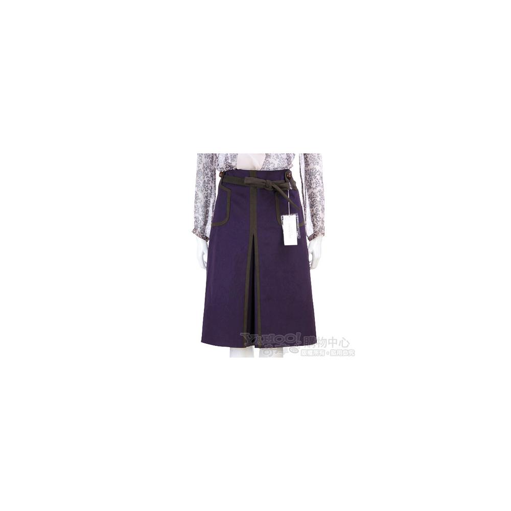 VALENTINO 紫色拼接及膝裙(附腰帶)