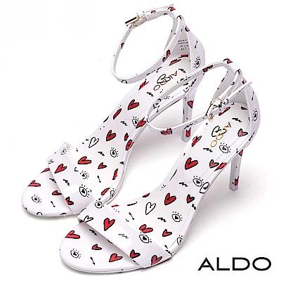 ALDO 美式愛心塗鴉一字繫踝細高跟涼鞋~愛戀白色