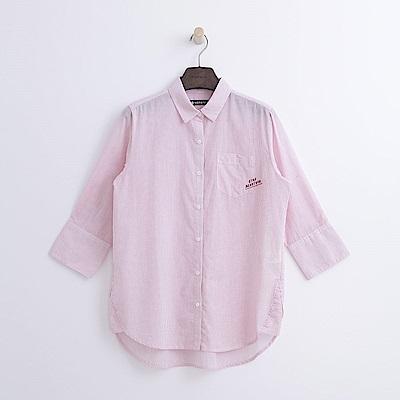 Hang Ten - 女裝 - 條紋七分袖襯衫-粉紅色