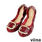 viina-典雅C型珍珠摺疊鞋-優雅酒紅
