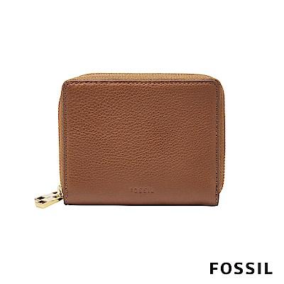 FOSSIL MINI WALLET 真皮多功能拉鍊皮夾 小夾-咖啡色