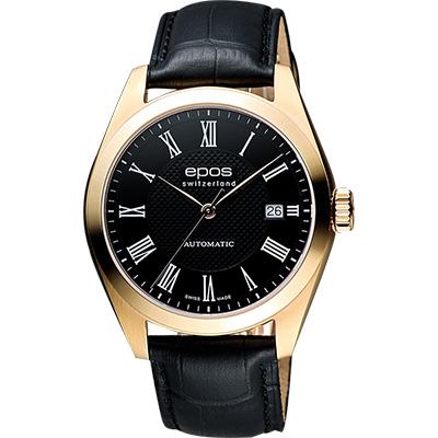 epos 原創系列羅馬機械腕錶-黑X玫塊金框/39mm