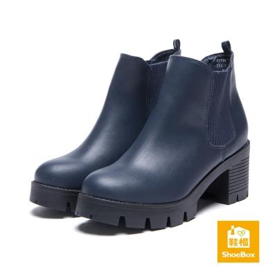 鞋櫃ShoeBox-短靴-素面皮革鬆緊帶粗方跟工程靴-藍