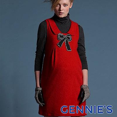 Gennie's奇妮-010系列-蝴蝶結 孕婦背心洋裝(T2447) 灰/紅 二色可選