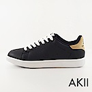 【AKII】經典不敗素面百搭內增高休閒鞋↑6cm 黑