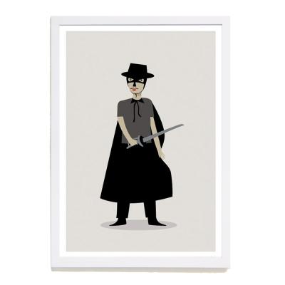 【摩達客】西班牙插畫家Judy Kaufmann海報掛畫-蒙面俠蘇洛 (附簽名)(含木框)