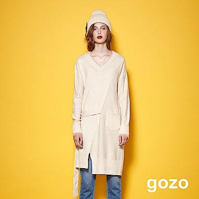 gozo-率性自由不規則剪裁長版針織衫(二色)-動態show