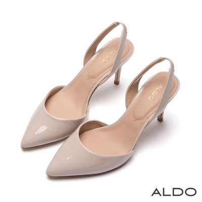 ALDO-原色亮面鬆緊帶後拉式尖頭細高跟鞋-氣質裸