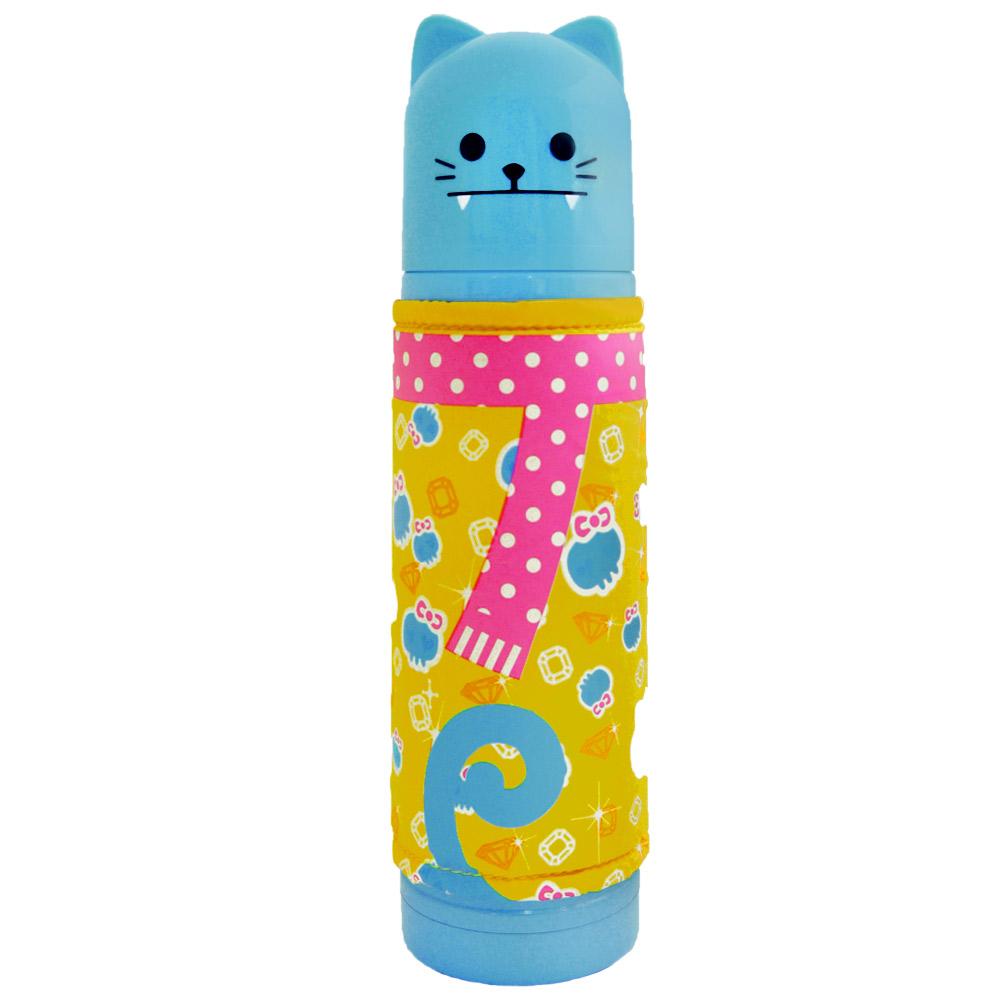 可愛日風貓咪家族保溫瓶500ml-藍色