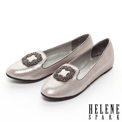 HELENE-SPARK-方鑽扣飾羊麂皮內增高尖頭樂福鞋-銅