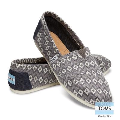 TOMS 經典圖騰針織懶人鞋-女款(灰)