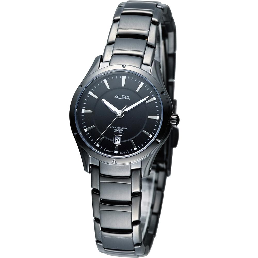 ALBA Lady 都會滿分時尚腕錶(AH7601X1)-IP黑/28mm