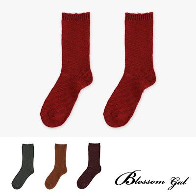 Blossom Gal 韓系厚實混色毛料針織造型短襪2入組(共7色)