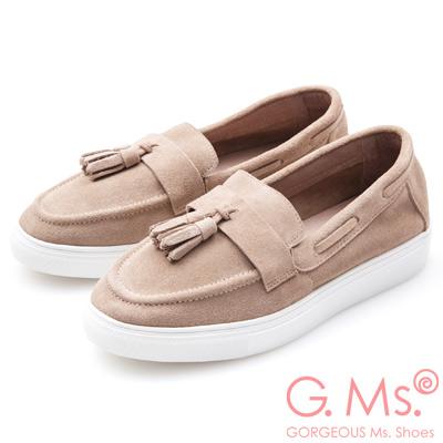 G.Ms. 牛麂皮流蘇莫卡辛厚底鞋-卡其