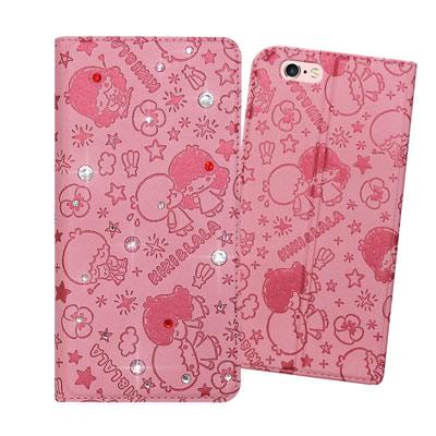 三麗鷗正版雙子星 iPhone 6S 4.7吋 彩鑽壓紋磁力皮套(Kiss雙子星...