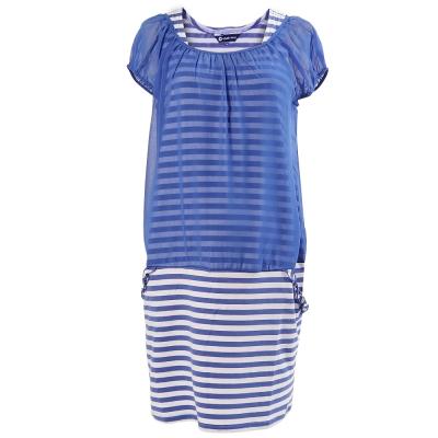 【ohoh-mini 孕婦裝】浪漫雪紡假兩件條紋孕婦洋裝