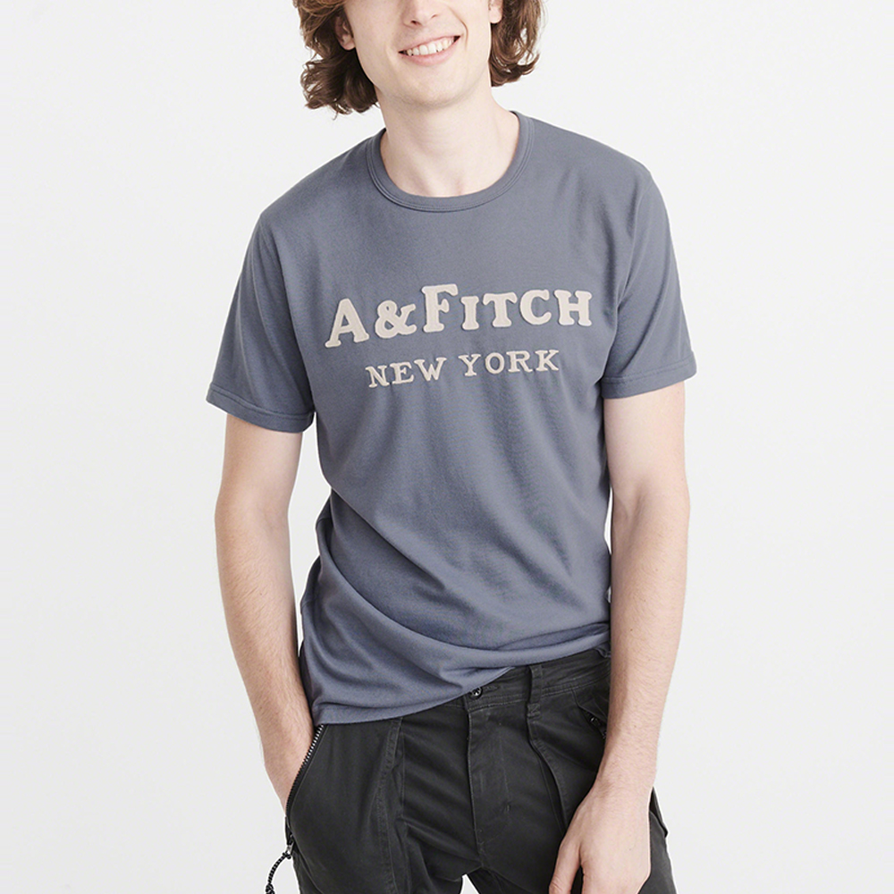 A&F 經典刺繡文字短袖T恤-灰藍色 AF Abercrombie
