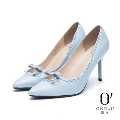 達芙妮x高圓圓 圓漾系列 高跟鞋-幻彩水鑽蝴蝶結尖頭高跟鞋-淺藍