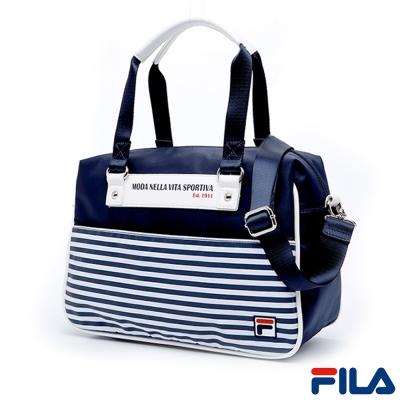 FILA條紋時尚手提側肩背多用包-學院藍-BMQ-1101-NV
