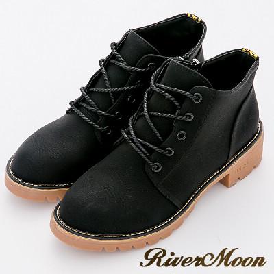 River&Moon短靴-經典百搭繫帶圓頭粗跟登山短靴-黑