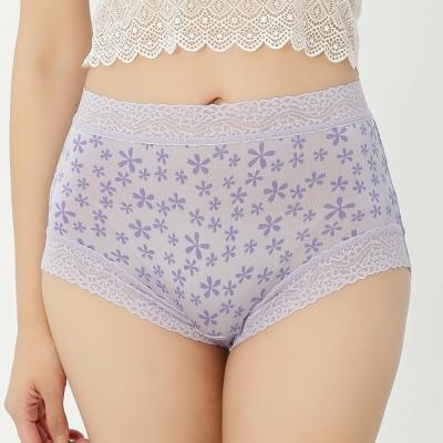 內褲 五瓣花100%蠶絲中高腰三角內褲 (紫) Chlansilk 闕蘭絹
